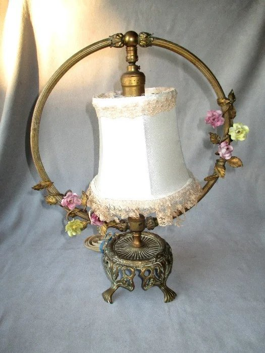 vintage three piece french boudoir lamp set diamond antiques ruby lane. Black Bedroom Furniture Sets. Home Design Ideas