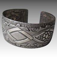 900 Silver Ornate Embossed Cuff Bracelet
