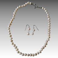Baroque Cultured Fresh Water Pearl Necklace & Earrings
