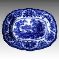 "Antique English Flow Blue ""Fairy Willow ' Platter"