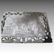 Etched and Cut Out Mother of Pearl Medallion