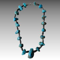 Great Vintage Turquoise Nugget Necklace