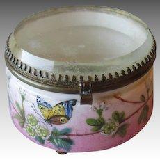 Wonderful Antique Porcelain Dresser Jar with Beveld Glass Cover
