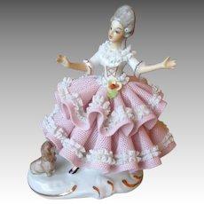 Vintage Dresden Lace Doll Figurine