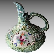 Gorgeous Antique Nippon Moriage Ewer / Pitcher