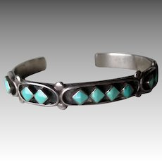 Great Vintage Signed Silver and Turquoise Bracelet