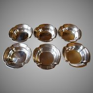 Set of Six Sterling Silver Whiting Nut Dishes