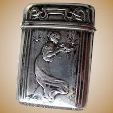 Great 800 Silver Art Nouveau Match Safe