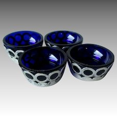 Wonderful Set of 4 Sterling Silver and Cobalt Individual Salt Dishes