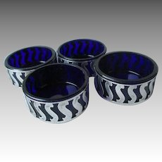 Fabulous Set of Four Sterling Silver and Cobalt Salt Dishes