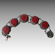 Great Vintage Cinnabar Link Style Bracelet