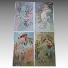 "Rare Set 1896 ""Alphonse Mucha (1860-1939)"" Four Seasons Lithographs on Silk"