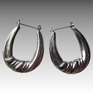 Great Vintage Setrling Silver Hoop Style Earrings