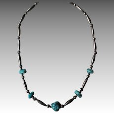 Wonderful Turquoise Nugget and Silver Bead Necklace