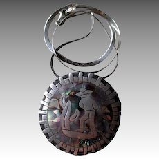 """""""Los Ballesteros"""" Taxco Sterling and Abalone Pendant Necklace"""