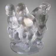 "Gorgeous Lalique Crystal ""Three Cherub"" Figurine"
