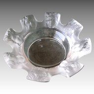 "Lalique ""St Nicholas"" Cherub Faced Frosted Ashtray"