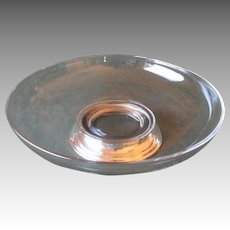 Beautiful Glass Center / Serving Bowl with Sterling Base