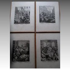 Set of Four Early William Hogarth Engravings - Stages of Cruelty