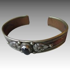 Fun Vintage Silver and Copper with Garnet Cuff Bracelet