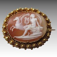 18k Gold and Shell Cameo - Greek Mythology with Pegasus