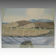 "Original California Watercolor Landscape - ""James March Phillips (1913-1981)"""