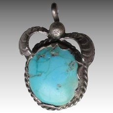 Fabulous Vintage Unmarked Silver and Turquoise Pendant