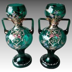 Matched Pair Stunning Bohemian Enamel Glass Vases