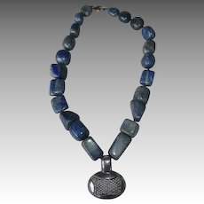 Signed Sodalite Nugget Necklace with Sterling Silver Pendant