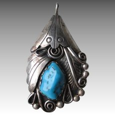 Unmarked Silver and Turquoise Pendant - Signed