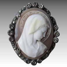 Stunning Carved Shell Cameo of Madonna