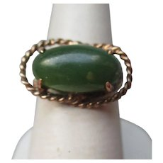 Fun 14k Gold and Green Jade Ring