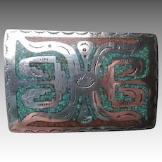 Great Signed Navajo Inlaid Turquoise and Coral Belt Buckle