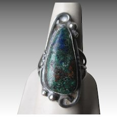 Asymmetrical Sterling Silver and Turquoise Ring