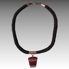 Victorian Woven Hair Mourning Choker Necklace with Banded Agate