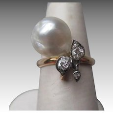 Gorgeous 14k Gold Baroque Pearl with Diamonds