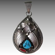 Stunning Ornate Stelring Silver and Turquoise Signed Pendant