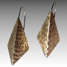 Great Pair Textured 14k Gold Diamond Shaped Earrings