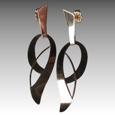 Great Pair 14k Gold Modernist Style Earrings