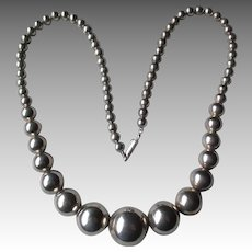 Gorgeous Graduated Taxco Sterling Silver Bead Necklace