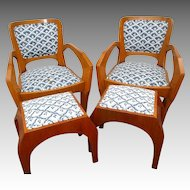 Matched Pair Antiquei Beidermeier Chairs with Stools