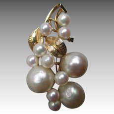 Gorgeous Mings of Hawaii 14k Gold and Pearl Pin or Brooch