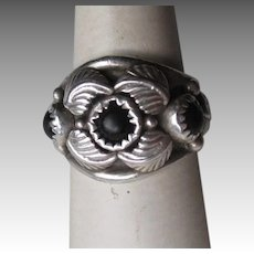 Fabulous Adam Fiero Navajo Jeweler Sterling Silver and Onyx Ring