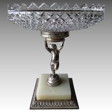 Great Parpoint Compote with Angel and Cut Glass Tray