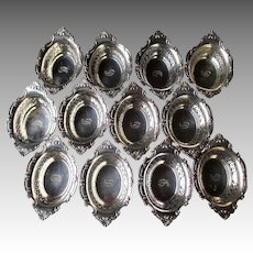 Set of 12 Matching Gorham Sterling Silver Nut Dishes