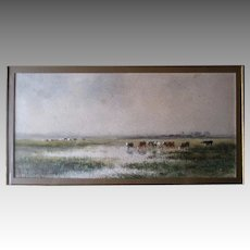 """Original Watercolor by """"Hugo Anton Fisher (1854-1916)"""" - Cattle in the Marsh"""