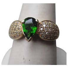 Beautiful 14k Gold and Chrome Diopside Ring with Diamond Accents