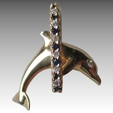 Fun 14k Gold Dolphin Pendant with Sapphires & Diamonds