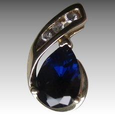 Beautiful 10k Gold with Sapphire and Diamond Pendant