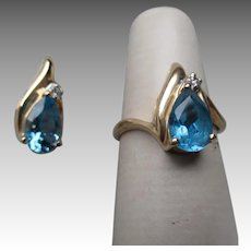Matching 14k Gold and Blue Zircon Ring & Pendant